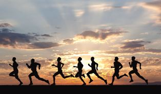 Marathon, black silhouettes of runners on the...</p></a> 						<div class=